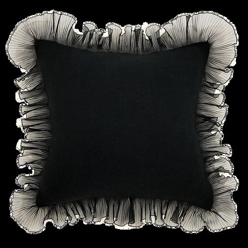 "Black Tie Ruffle 20"" Pillow"