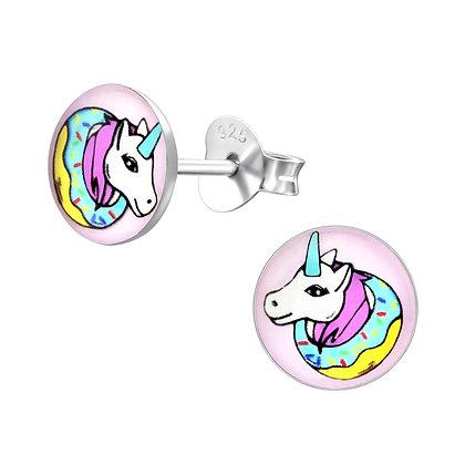 Childrens Sterling Unicorn Earrings Multicolour