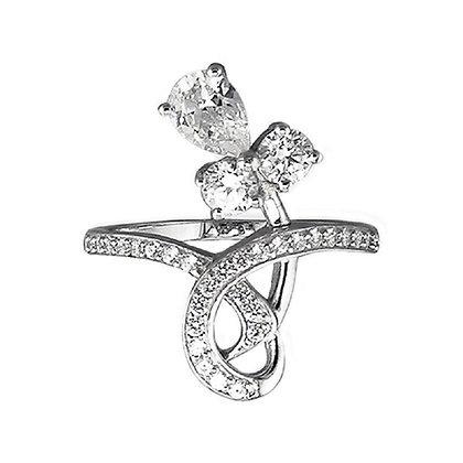 Assayed Art Nouveau Style Cocktail Ring Clear