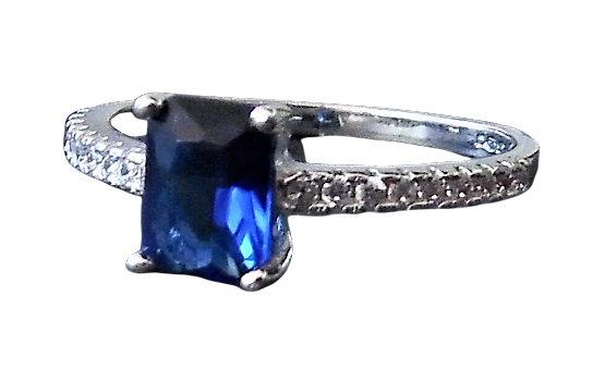 Assayed Silver Blue Sapphire CZ Ring