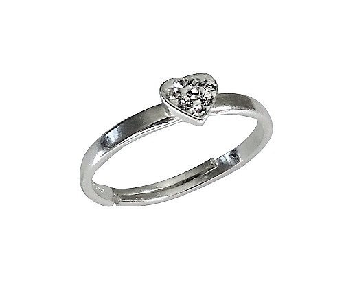 Assayed Heart Ring Adjustable Clear Crystals