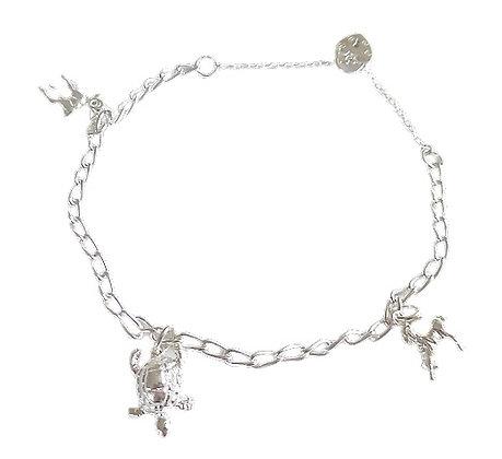Assayed Silver Charm Bracelet Animal Charms