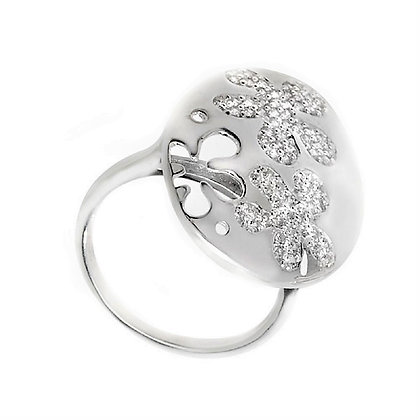 Assayed Silver Ring Oval Hippie Style Clear CZ