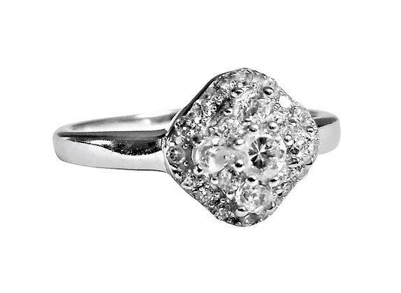 Assayed Sterling Silver Cluster Ring Clear CZ
