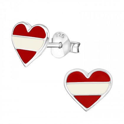 925 Red Heart Earrings