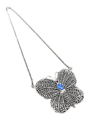 Silver Butterfly Necklace Filigree