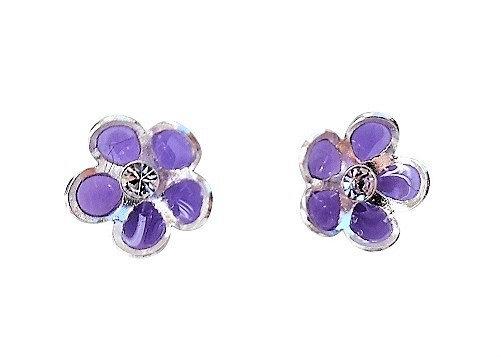 Sterling Purple Studs Flowers
