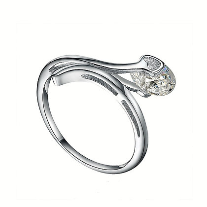 Real Silver Modern Solitaire Ring