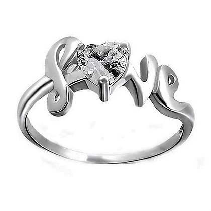 Assayed Silver Love Heart Ring Clear CZ