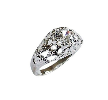 Assay Hallmarked Clear Round Solitaire Ring