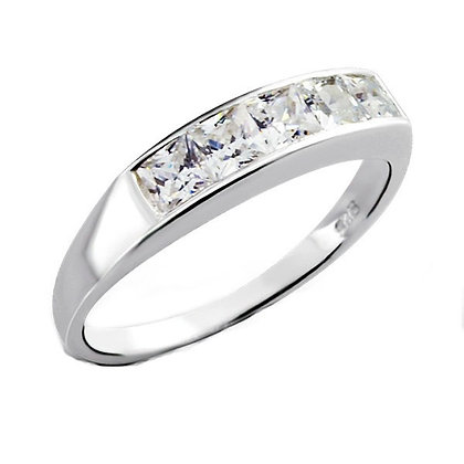 Assayed Channel Set Silver Ring Clear CZ