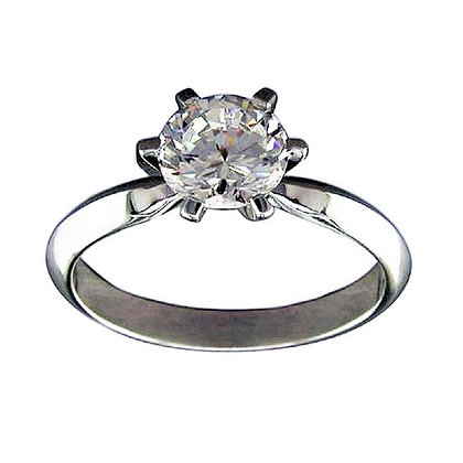 Sparkling Real Silver Engagement Ring