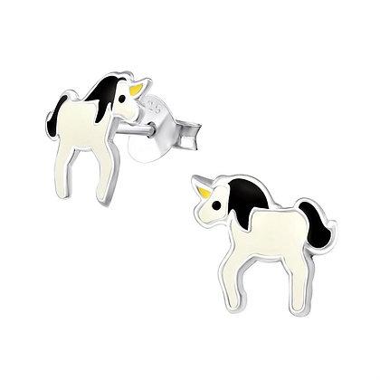 Childrens Sterling Unicorn Studs