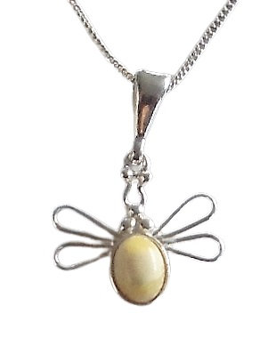 Silver Yellow Butterfly Necklace