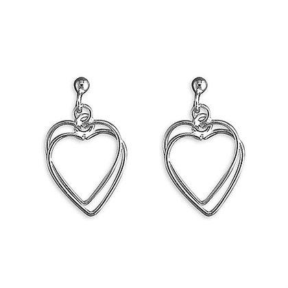 Plain Twin Heart Earrings