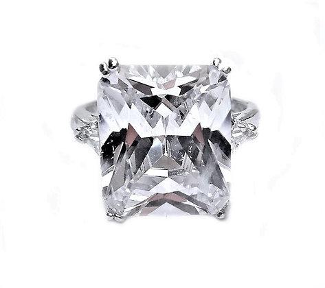 Assayed Silver Ring Princess Cut Clear CZ