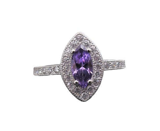 Assayed Silver Marquise Amethyst Purple Ring