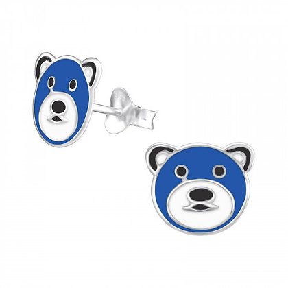 Teddy Bear Studs Blue