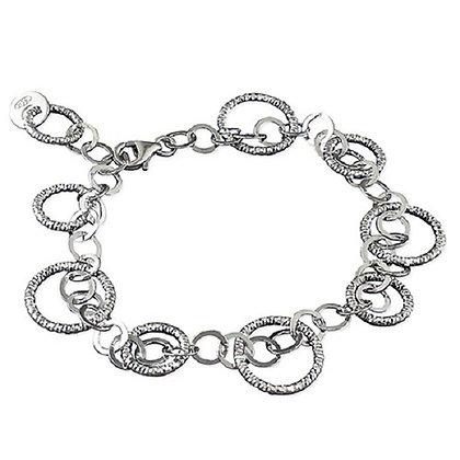 Assay Sterling Silver Plain Diamond Cut Bracelet Circles