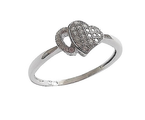 Assayed Silver Abstract Heart Ring