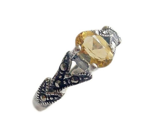 Assayed Citrine Ring Marcasite Yellow Oval Ring