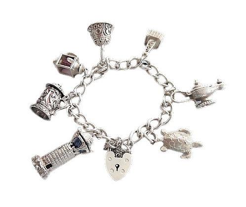 Vintage Assayed Assayed Charm Bracelet 1 Oz +