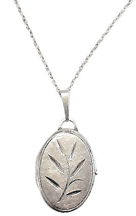 Vintage Silver Oval Locket Necklace