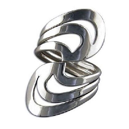Assayed Silver Plain Ring Scrolls