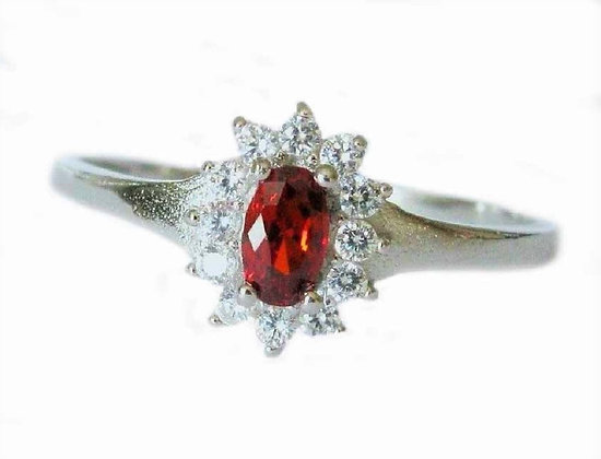Assayed Silver Red Oval Ring