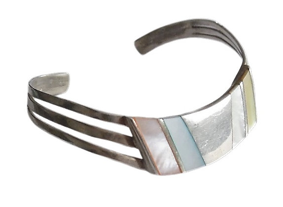 Silver Mother of Pearl Bangle 1 Oz +