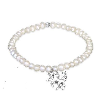 Girl's Pearl Bracelet Unicorn Charm