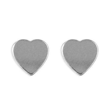 925 Sterling Silver Plain Heart Studs