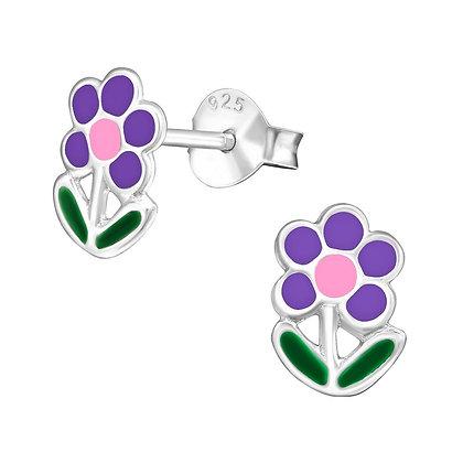 Girls Sterling Flower Earrings Multicolour