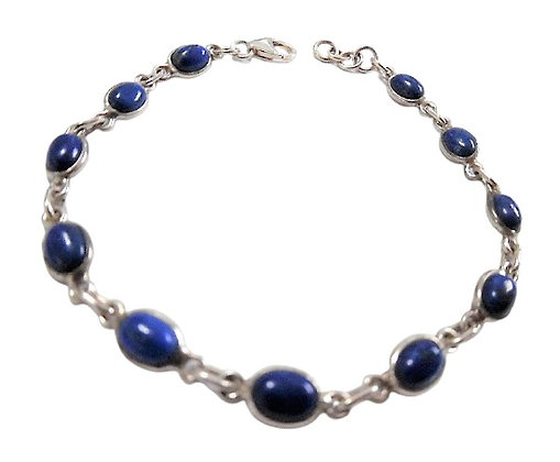 Sterling Silver Royal Blue Bracelet Lapis Lazuli