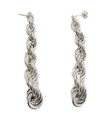 Sterling Silver Chunky Dangly Earrings 60mm
