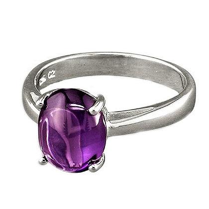 Assayed Silver Ring Amethyst Purple Cabochon