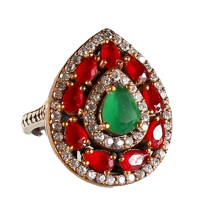 Vintage Chrysoprase Ring Multicoloured Pear