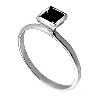 Assayed Silver Black Square Ring