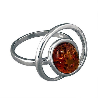Assayed Silver Oval Brown Amber Ring Swirl