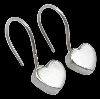 Sterling Silver Small Chunky Heart Earrings