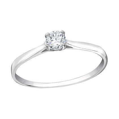 Assay Hallmarked Silver Solitaire Ring