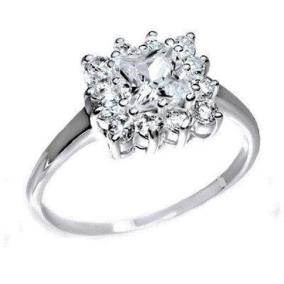 Assayed Silver Square Ring Clear Zirconia