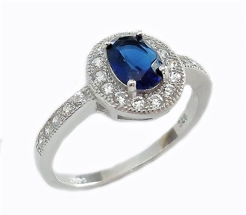 Assayed Sterling Silver Sapphire Ring