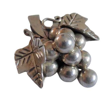 Sterling Silver Grapes Brooch