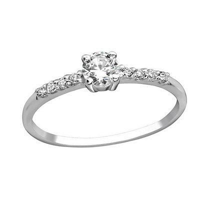 Hallmarked Silver Solitaire Ring