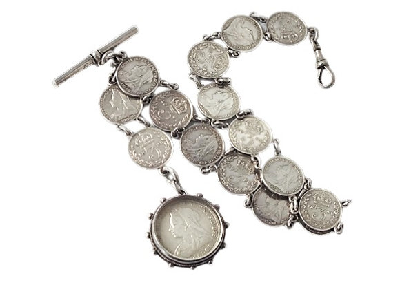 Victorian Albert Coin Chain With Fob 1 oz +