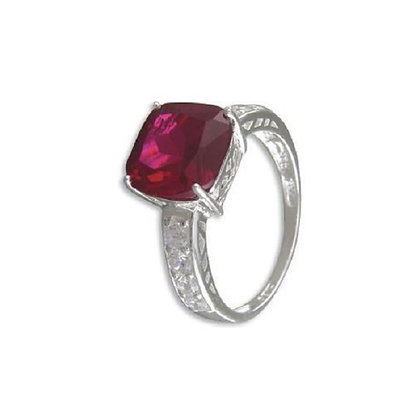 Assayed Silver Ring Ruby Red Cushion CZ
