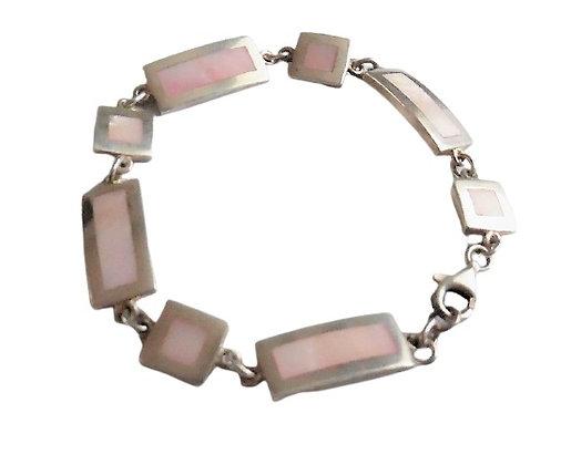 Vintage Sterling Silver Mother of Pearl Bracelet