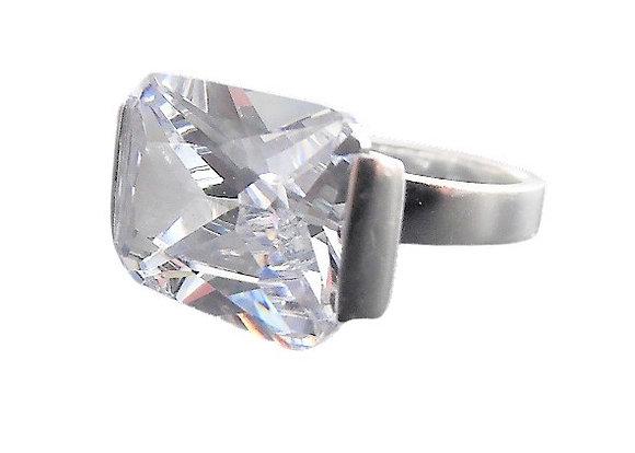 Assayed Radiant Cut Silver Ring Large Clear Gem