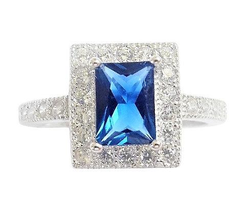 Assayed Sapphire Blue Ring Rectangular CZ